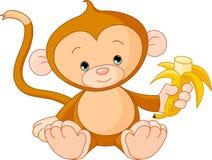 De Aap die van de baby banaan eet Stock Foto's