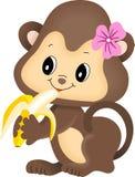 De aap die van het meisje banaan eet Stock Fotografie