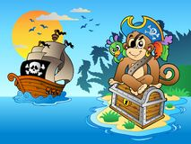 De aap en de borst van de piraat op eiland Stock Foto