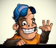 De aap in GLB van heet welkom Stock Afbeelding