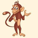 De aap van de beeldverhaal grappige chimpansee golvende hand en het voorstellen Vectordieillustratie op aapmascotte op wit wordt  stock fotografie