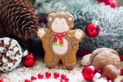 De aap van de Kerstmispeperkoek Stock Foto's