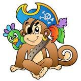 De aap van de piraat met papegaai Stock Afbeelding