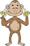 De aap van het beeldverhaal met twee bananen Stock Fotografie