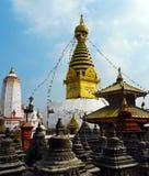De Aaptempel van Swayambhunathstupa in Katmandu, Nepal Stock Foto