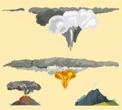 De aard die van het vulkaanmagma - omhoog met van de de lavaberg van de rook de vulkanische uitbarsting vectorillustratie blazen Stock Foto's