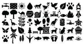 De aard en het Wild isoleerden Vector geplaatste Pictogrammen die zich gemakkelijk kunnen wijzigen of uitgeven stock illustratie