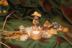 De aard leidt over de hele wereld tot de Geboorte van Christus - kleine Geboorten van Christus van Royalty-vrije Stock Foto