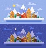 De aard van de winter De tijd van Kerstmis Vector vlakke illustraties eps 10 Stock Foto