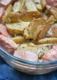 De aardappelbraadpan van de zalm Royalty-vrije Stock Afbeelding