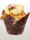 De aardbei en de room van Cupcake Stock Foto's