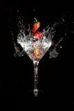 De aardbei van martini stock foto's