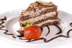 De aardbei van Tiramisu cakewith stock afbeeldingen