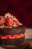 De aardbeicake van de chocolade Stock Foto's