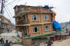 De aardbeving van Nepal in Katmandu Stock Foto's