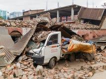 De aardbeving van Nepal in Katmandu Stock Afbeelding