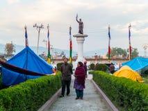 De aardbeving van Nepal in Katmandu Stock Foto