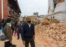 De aardbeving van Nepal in Katmandu Royalty-vrije Stock Foto's