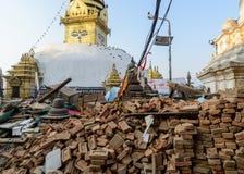 De aardbevingen van Nepal Stock Foto's