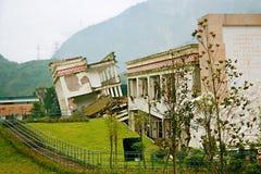 De aardbevingsplaats in Xuan Kou-lage school royalty-vrije stock fotografie