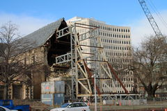 De aardbevingsschade van de Christchurchkathedraal royalty-vrije stock foto's
