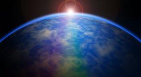 De aarde behandelt de zon in een mooie zonneverduistering Stock Foto's