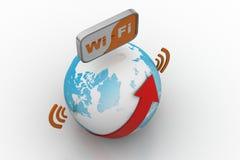 De Aarde breedbandsymbool van wereldwifi stock illustratie