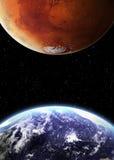 De aarde en brengt in ruimte in de war Royalty-vrije Stock Afbeelding