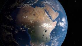 De aarde spint rond zijn as in ruimte stock video