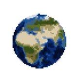 De Aarde van de pixelkunst op wit wordt geïsoleerd dat Stock Foto