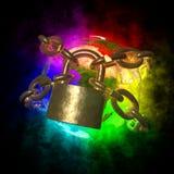 De Aarde van de regenboog met aura dat gouden ketting breekt Stock Afbeelding
