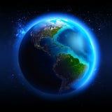 De Aarde van ruimte wordt gezien die Royalty-vrije Stock Afbeeldingen
