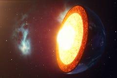 De Aarde van de structuurkern Structuuraardlagen De structuur van de de Aardedwarsdoorsnede van de aarde` s korst in ruimte stock illustratie