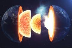 De Aarde van de structuurkern Structuuraardlagen De structuur van de de Aardedwarsdoorsnede van de aarde` s korst in ruimte royalty-vrije illustratie