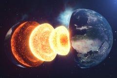 De Aarde van de structuurkern Structuuraardlagen De structuur van de de Aardedwarsdoorsnede van de aarde` s korst in ruimte vector illustratie