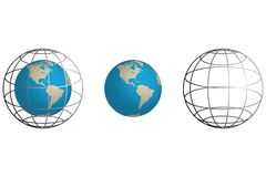 De Aarde van Wireframe Stock Afbeelding