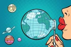 De aarde wordt geblazen uit als een zeepbel royalty-vrije illustratie
