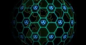 De aarde wordt verward door NEM het netwerk van XEM blockchain Blockchainconcept stock footage