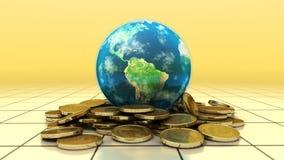 De aarde zit op hoogste stapel van gouden muntstukken Royalty-vrije Stock Foto's