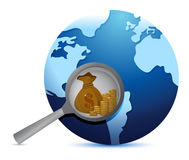 De aardebol en overdrijft glas die naar goud zoeken Royalty-vrije Stock Afbeeldingen