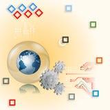 De Aardebol, kringen en tandraderen van het ontwerpmalplaatje op vierkantenmozaïek Royalty-vrije Stock Fotografie