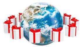 De aardebol met stelt rond het roteren voor Globaal Kerstmis en Nieuwjaarconcept het 3d teruggeven royalty-vrije illustratie