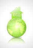 De aardebol van Eco met groen huis Stock Foto's