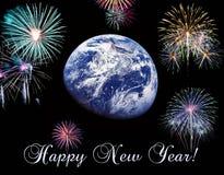 De aardesymbool van de voorraadfoto van het nieuwe jaar op ons planeet gelukkig nieuw jaar en vrolijke Kerstmiselementen van dit stock afbeelding