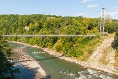 De Aardgasleiding kruist de Belaya-rivier Stock Foto's
