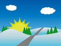 De aardlandschap van de winter met bomen en zon Stock Foto