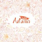 De aardpatroon van het dalingsblad met het van letters voorzien hello de Herfst De herfstweiland vector illustratie