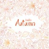 De aardpatroon van het dalingsblad met het van letters voorzien hello de Herfst De herfstweiland stock foto