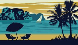 De aardscène van overzees in de zomer, de paraplu en de wieg zijn op strand, uitstekend kleurenontwerp vector illustratie