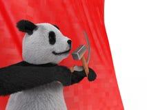 De aardse dierlijke panda draagt inheems centraal China erkende door grote distinctieve zwarte flarden rond ogen over oren over r Stock Foto's